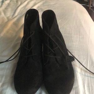 Dr scholls black suede wedge booties